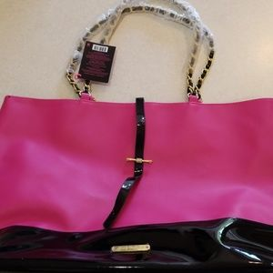 Juicy Couture Pink and Black Tote Gold Accents